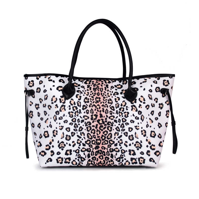 Wholesale Snow Leopard Patterns Canvas Tote Bag With Black