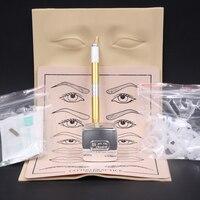 Hoge kwaliteit Microblading Pen KITS Handleiding pen wenkbrauw plakken kits met 10 stks naald blade 2 stks praktijk huid Voor leerling gebruik-in Tatoeagetoebehoren van Schoonheid op