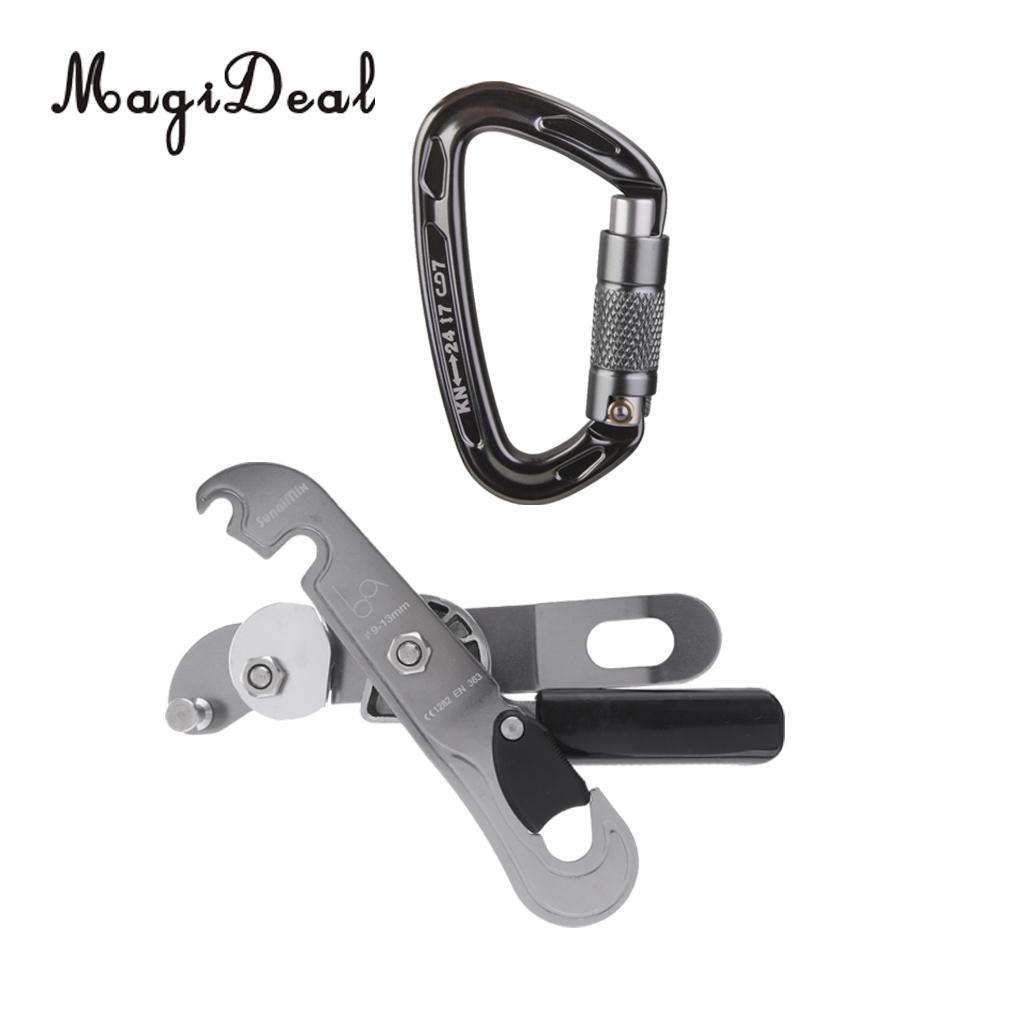 MagiDeal Hot Sale D Shape Climbing Carabiner Screw Lock Self Braking Stop Descender Gray for Rappelling