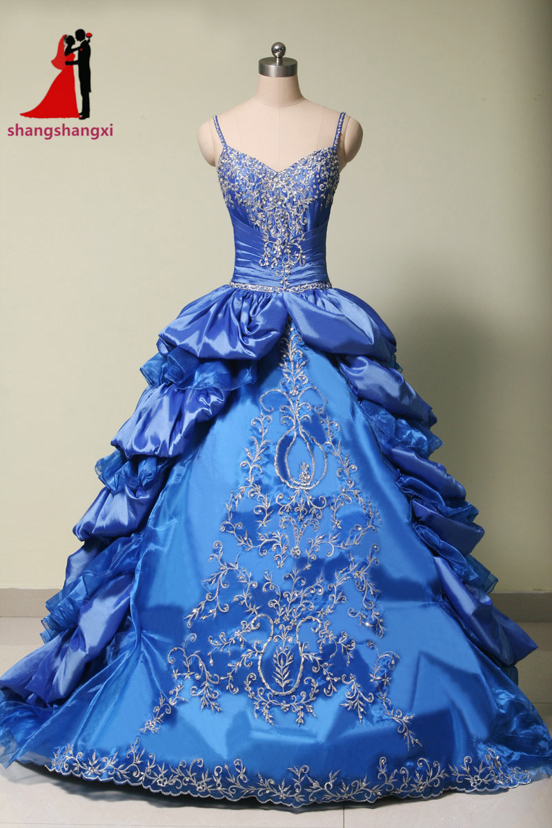 2017 Royal Blue Long Prom Quinceanera Dresses Embroidery Beaded Ball Gown Plus Size Party Vestidos De 15 Anos Sweet 16 Dresses