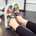 Новая коллекция весна 2016 мода отдых мультфильм ребенка парусиновые туфли женский губка толстым дном одной ногой педаль комплект из свободного покроя обувь