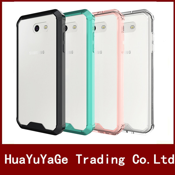 2 in 1 TPU Frame Shockproof PC back Scratch Resistant Transparent Crystal Clear phone cases for Samsung Galaxy J3 J7 2017