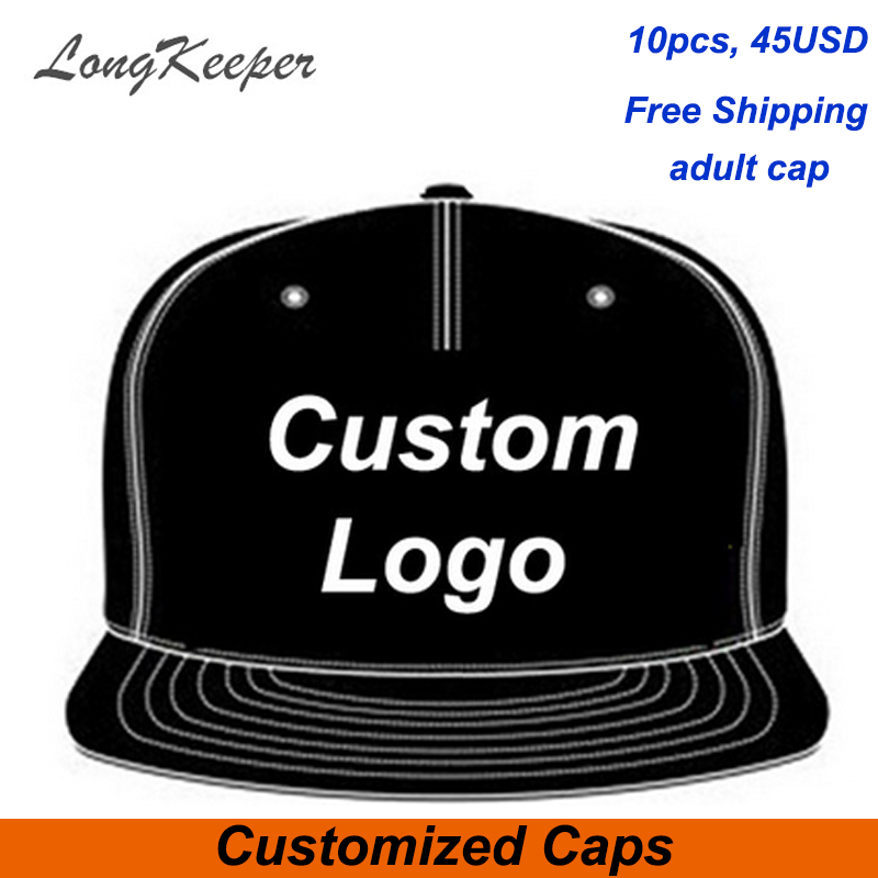 LongKeeper Wholesale 10PCS/LOT Snap Back Adult Embroidery Logo Customize Cap Custom Baseball Hat Custom Snapback Cap chemo skullies satin cap bandana wrap cancer hat cap chemo slip on bonnet 10 colors 10pcs lot free ship