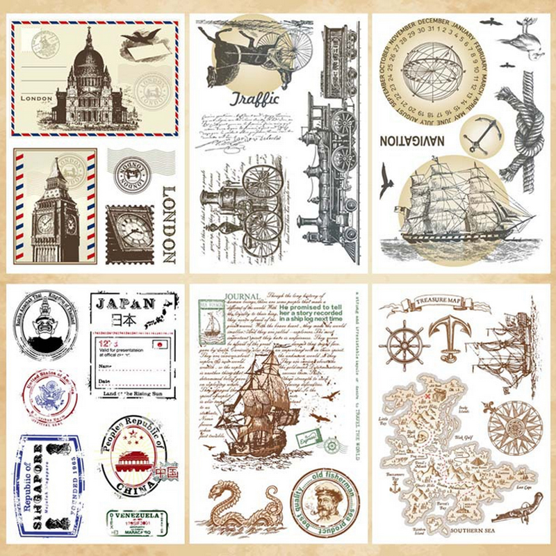Vintage Nautical map Postmark transparent silicone clear decoration stamp for scrapbooking DIY craft stamp kids stationery rysunek kolorowy motyle