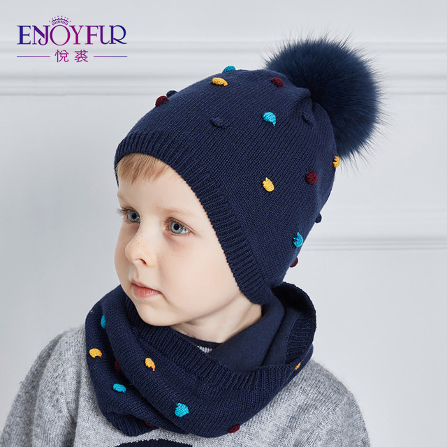 ENJOYFUR Baby Hat And Scarf Set Cotton Knitted Winter Hats Real Fox Fur  Pompom Ears Caps 66608a385202