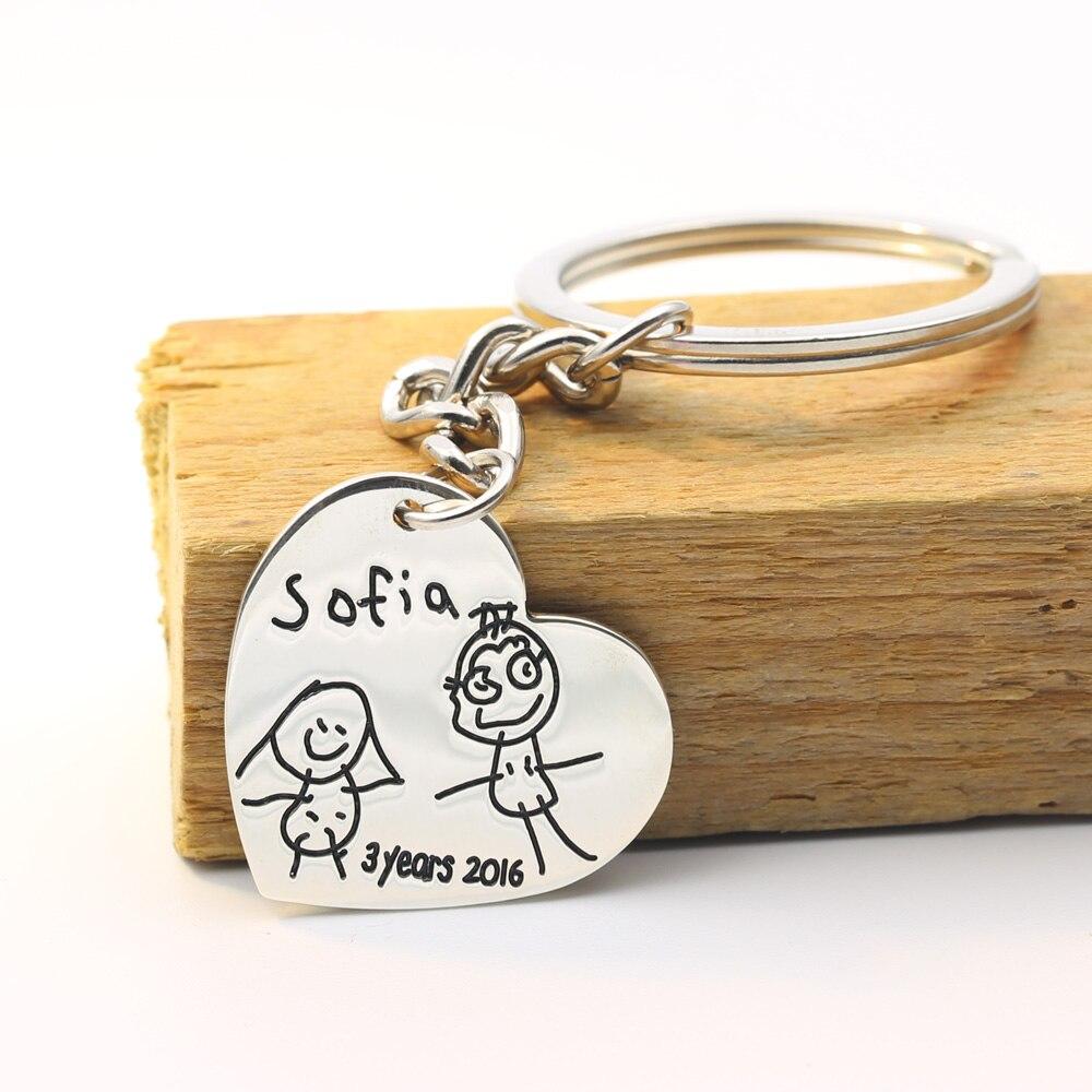 Benutzerdefinierte Herz Schlüsselanhänger Gravierte Kinder Zeichnung ...