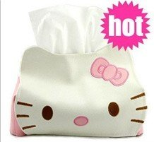 1PC/Lot KT cat PU napkin tissue holder Paper towel tube tissue roll cover tissue pumping multifunction case storage box