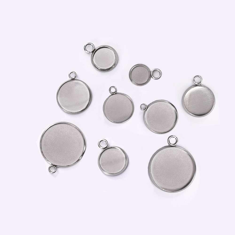 Round Stainless Steel Pendant Cabochon Setting Bezel Jewelry Making Component Base 6mm 8mm 10mm 12mm 14mm 16mm 18mm 20mm 25mm