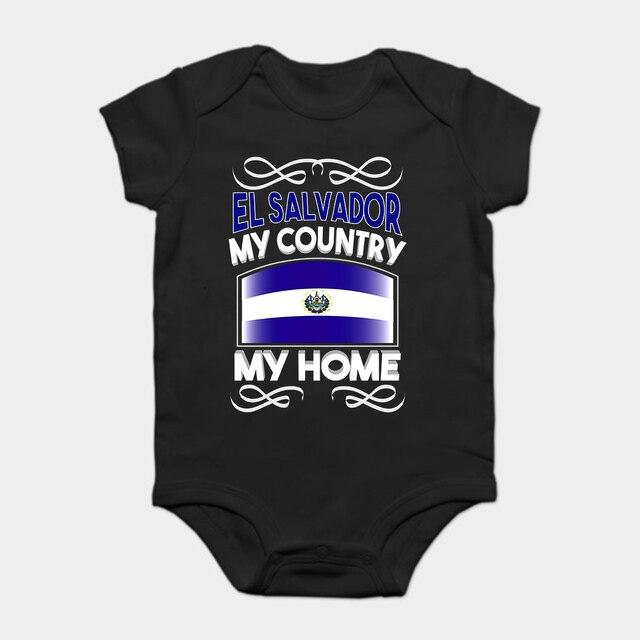 Bayi Onesie Atasan Bayi Anak T Shirt Lucu Keren El Salvador Negara Saya Rumah Bendera Nasional