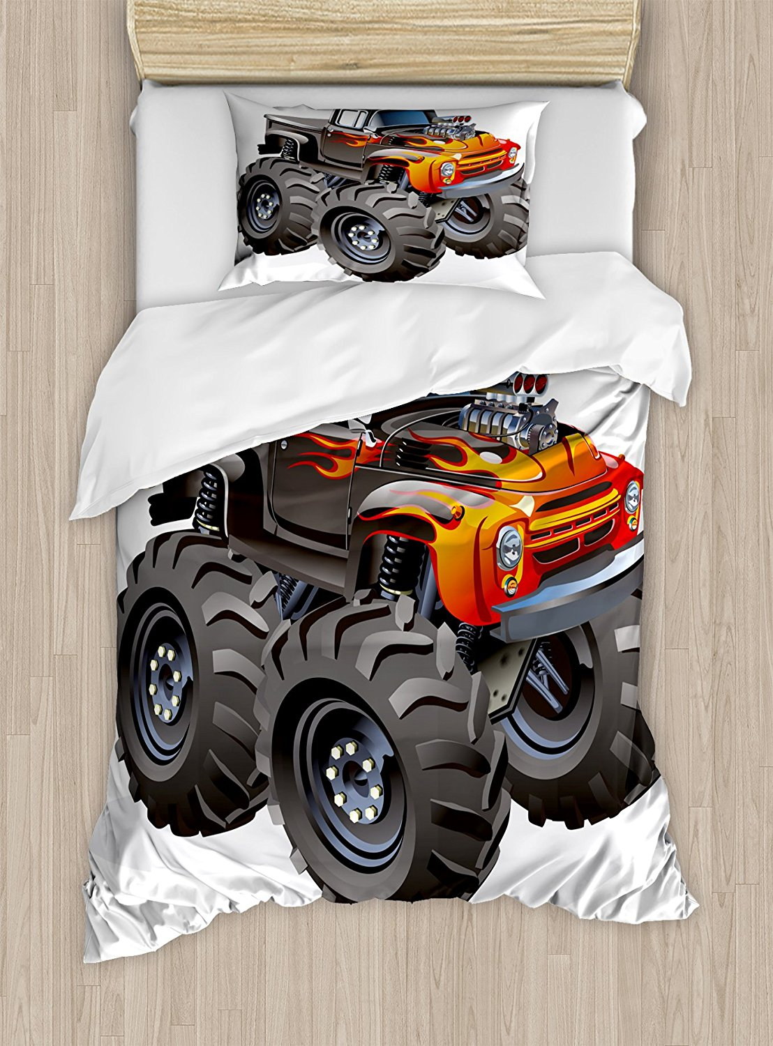 Boys Room Duvet Cover Set by Lunarable, Monster Truck in Flame Big Hobby Sports Exotic Automobile Style 4 Piece Bedding Set