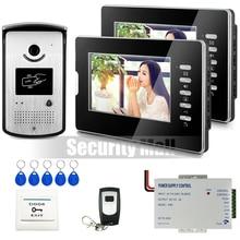 "Chuangkesafe Casa 7 ""Color de Vídeo Teléfono de Puerta de Intercomunicación Del Sistema 2 Monitores + 1 Cámara de Acceso RFID + Control Remoto En Stock"