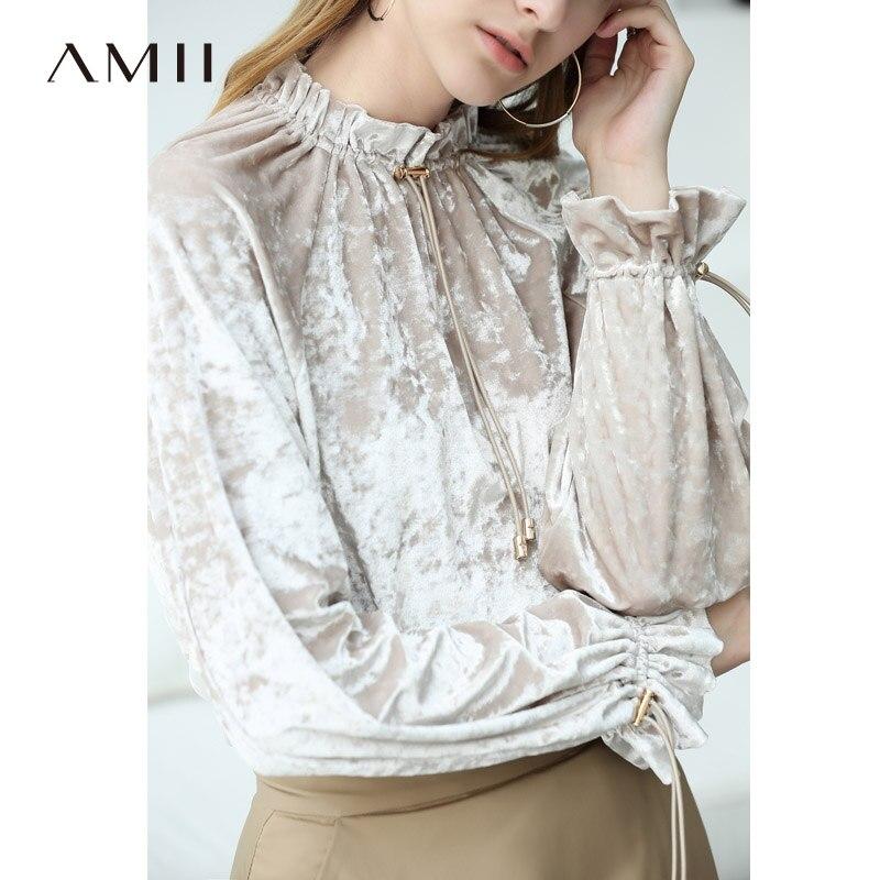 Amii Minimalist Women 2018 Autumn Blouse Chic Stylish Fashion Drawstring Velour Loose Long sleeve Female Blouses Shirts