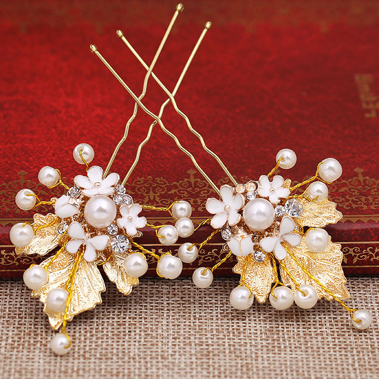 HIMSTORY 6pcs Handmade Simulated Pearl FLower Leaves Bridal Hairpins Wedding Hair Pins And Clips Hair Accessories in Hair Jewelry from Jewelry Accessories