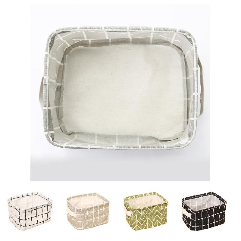 Geometry Pattern Desk Storage Box Cotton Linen Organizer Basket Foldable Cosmetic Case TB Sale