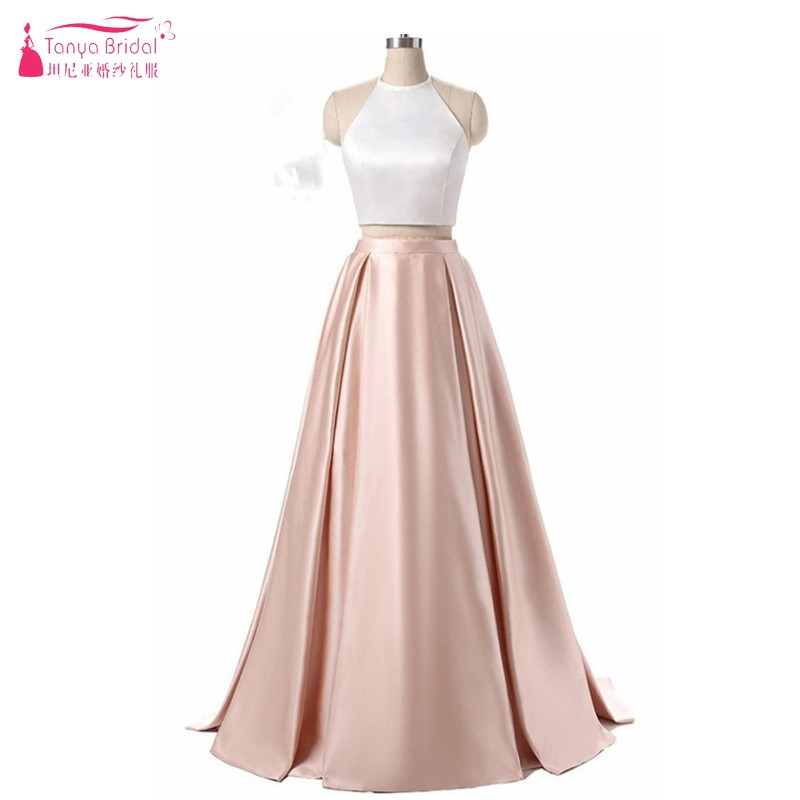 Two Pieces A Line Long Ivory And Champagne Prom Dresses Simple Style New Fashion Formal Evening