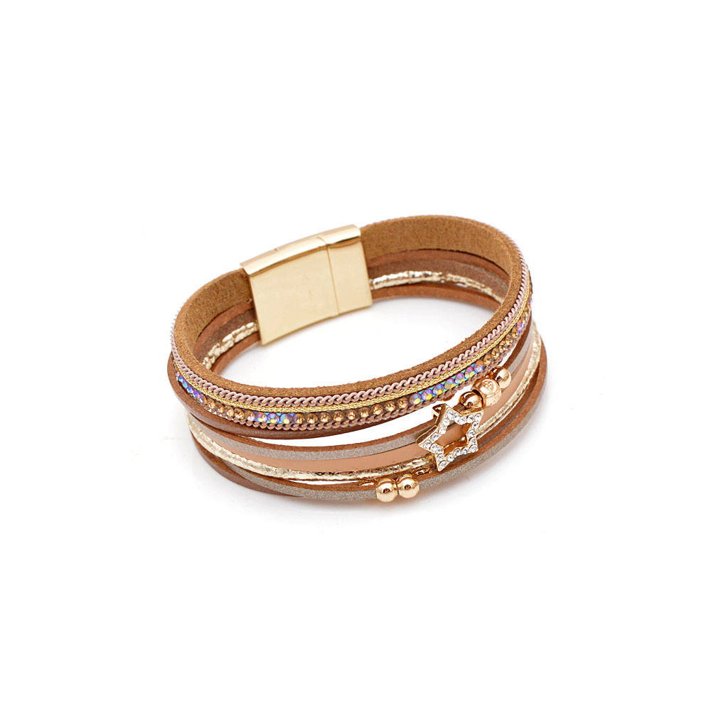 CINDY XIANG New Arrival Rhinestone Star Leather Bracelets For Women Fashion Cuff Bangles Wide Bracelet Summer Beach Jewelry Gift in Bangles from Jewelry Accessories