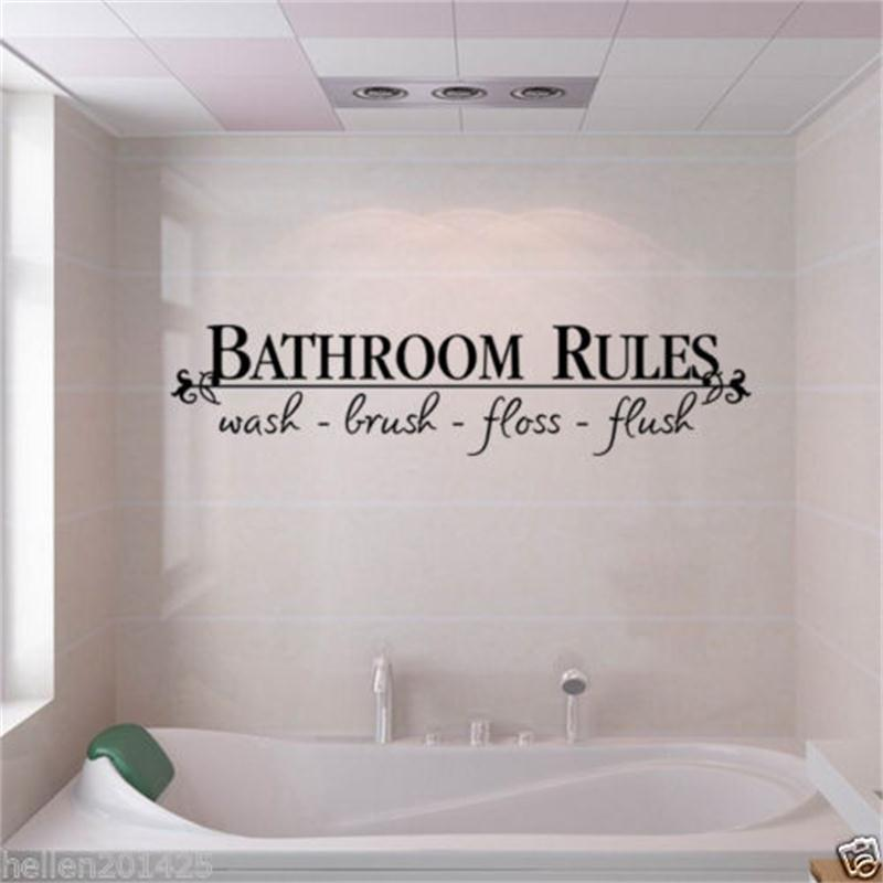 bathroom rules door sign vinyl quotes lettering words wall stickers ...