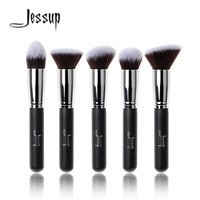 Jessup Brand 5pcs Black Silver Beauty Kabuki Makeup Brushes Set Foundation Powder Blush Make Up Brush