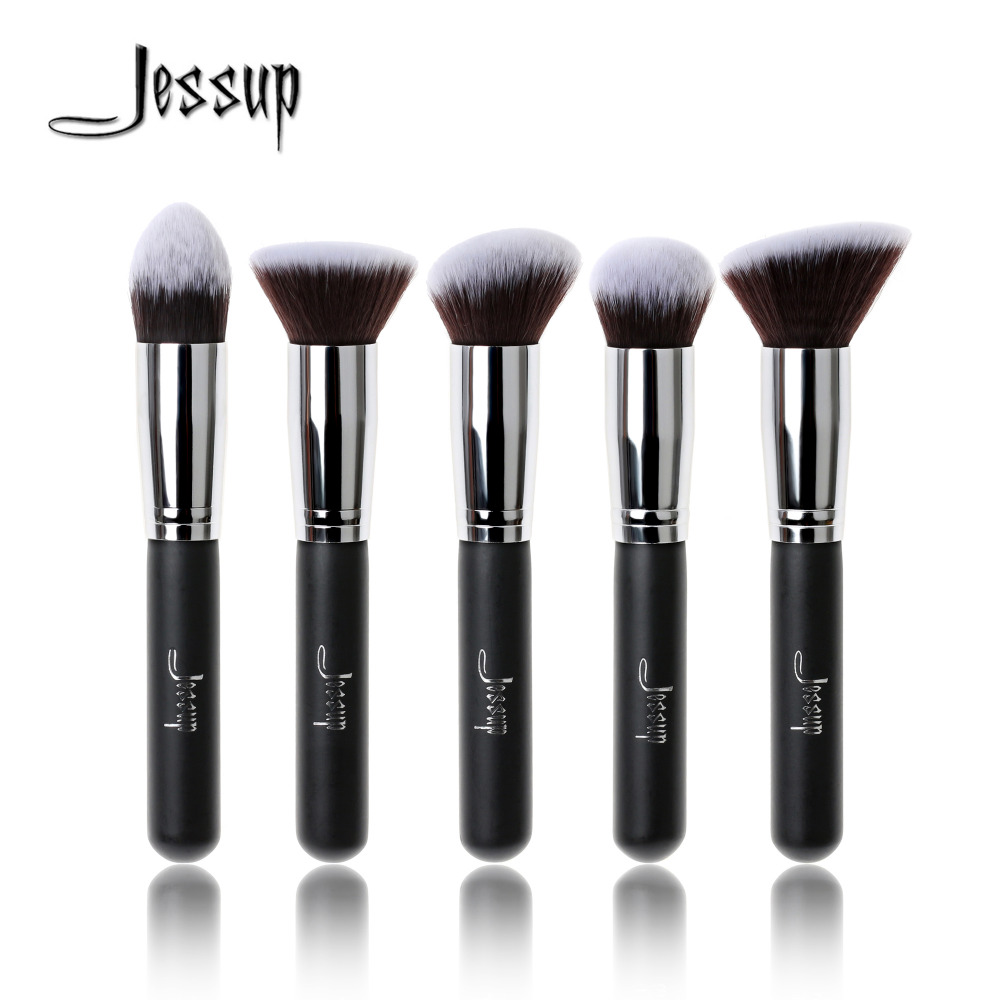 Jessup Brand 5pcs Black/Silver Beauty Kabuki Makeup Brushes Set Foundation Powder Blush brushes Make up Brush Cosmetics Tools jessup brushes 10pcs rose gold black face makeup brushes set beauty cosmetic make up brush contour powder blush