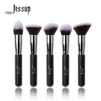 Jessup Merk 5 stks Zwart/Zilver Beauty Kabuki Up Kwasten Set Stichting Poeder Blush borstels Make up Borstel Cosmetica gereedschap