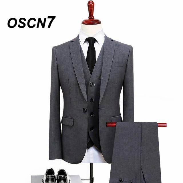 OSCN7 Gentleman 3 Piece Suit Men Slim Fit Office Wear Wedding Dress Suits for Groom Plus Size Costume Homme Mariage 5XL