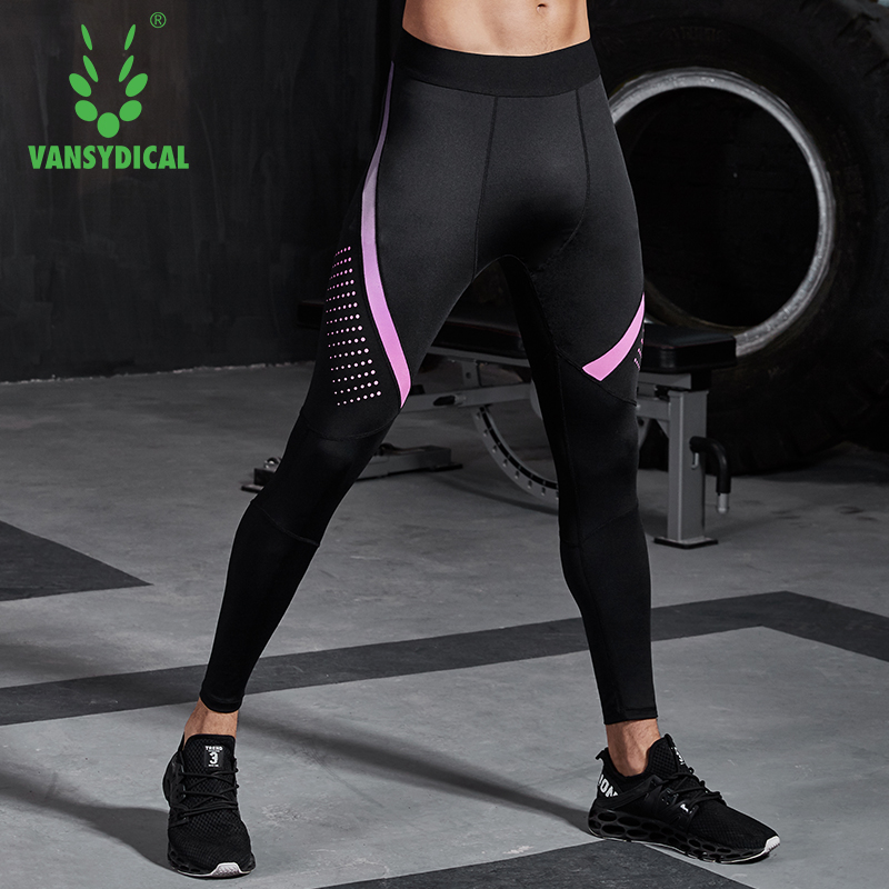 f6f4c63e9b890e Vansydical 2019 Compression Sports Running Tights Mens Printed Fitness Gym  Leggings Breathable Basketball Stretch Trousers ~ Super Deal July 2019