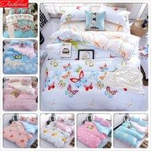 Butterfly Pattern Duvet Cover 3/4pcs Bedding Set Adult Kids Child Soft Cotton Bed Linen Single Queen King Size Quilt Pillow Case
