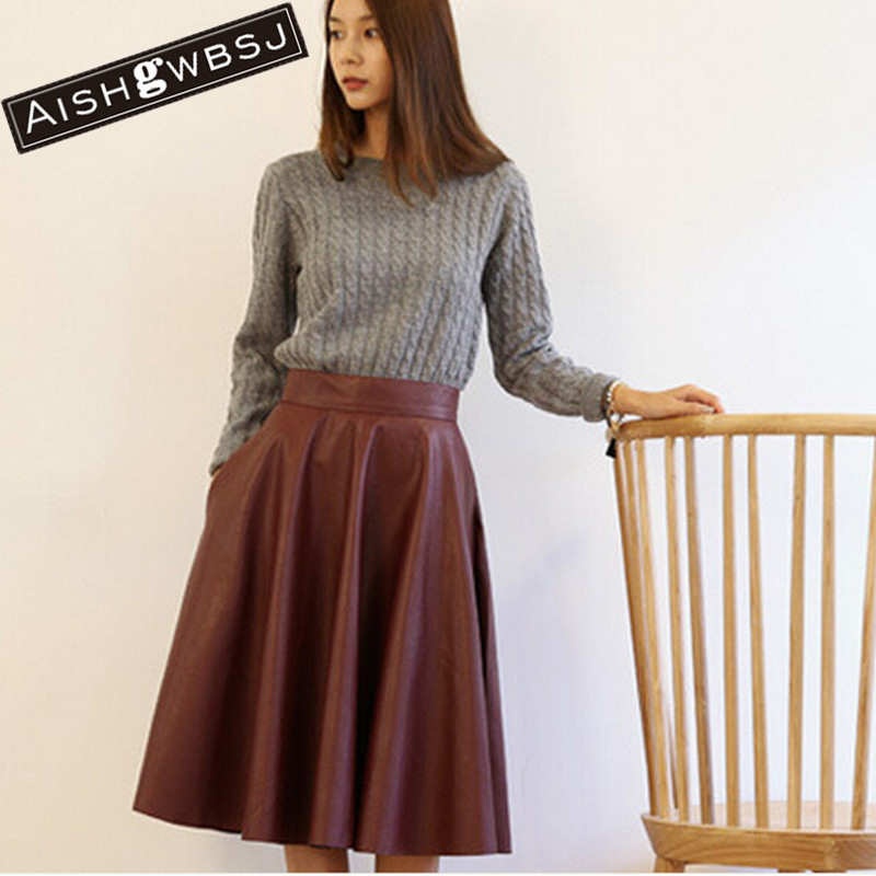 Compare Prices on Pu Faux Leather Fashion Long Skirt- Online ...