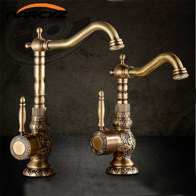 Basin Faucets Antique Brass Bathroom Faucet Basin Carving Tap Rotate Single Handle Hot and Cold Water Mixer Taps Crane XT940 micoe hot and cold water basin faucet mixer single handle single hole modern style chrome tap square multi function m hc203