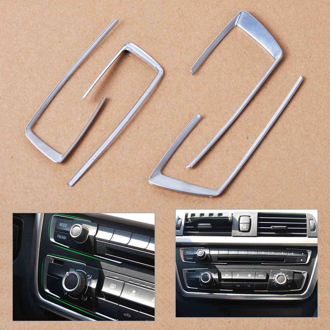 Beler Nuovo 1Pc Chrome Dashboard Copertura Console Trim Interni Auto Stylings Per BMW 3 Serie 4 F30 F32 F34 320 420 2013 2014 2015