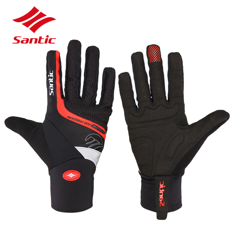 Santic Cycling Gloves Men Full Finger Touchscreen Phone Bicycle Bike Gloves Thermal Windproof Mittens Guantes Ciclismo racmmer cycling gloves guantes ciclismo non slip breathable mens