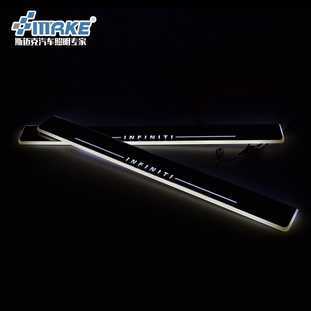 Hongyingcar LED Moving Welcome Light Door Sill Scuff Plate for Infiniti Q50 Q50L QX50 Q70 2013 2014 2015 2pcs