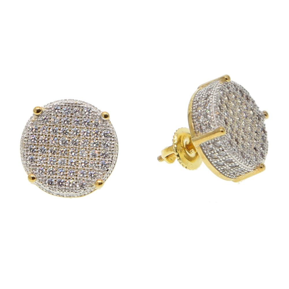 14mm disc micro pave cubic zirconia gold colors bling hip hop women mens screwback earring цены
