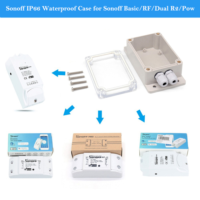 US $7 48 12% OFF|Sonoff IP66 Waterproof Junction Box Waterproof Case  Support Sonoff Basic/RF/Dual R2/Pow for Xmas Tree Lights-in Home Automation