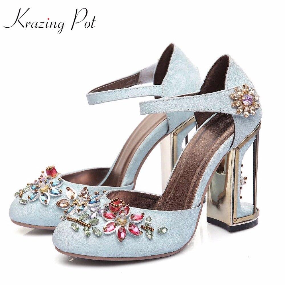 Krazing pot beading flowers ankle strap crystal high heels round toe birdcage heels velvet strange style