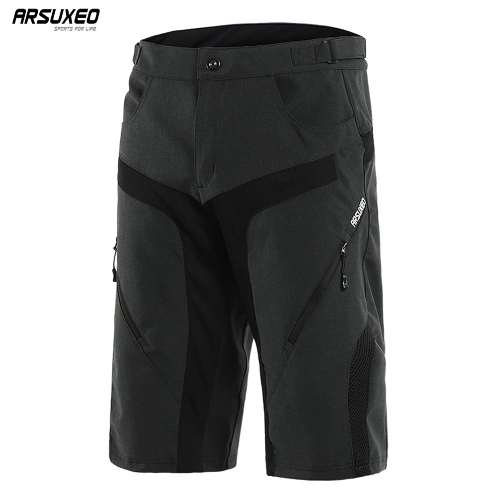 ARSUXEO Men's Outdoor Sports Cycling Shorts Downhill MTB Shorts Wearproof Mountain Bike Shorts  Water Resistant 1802