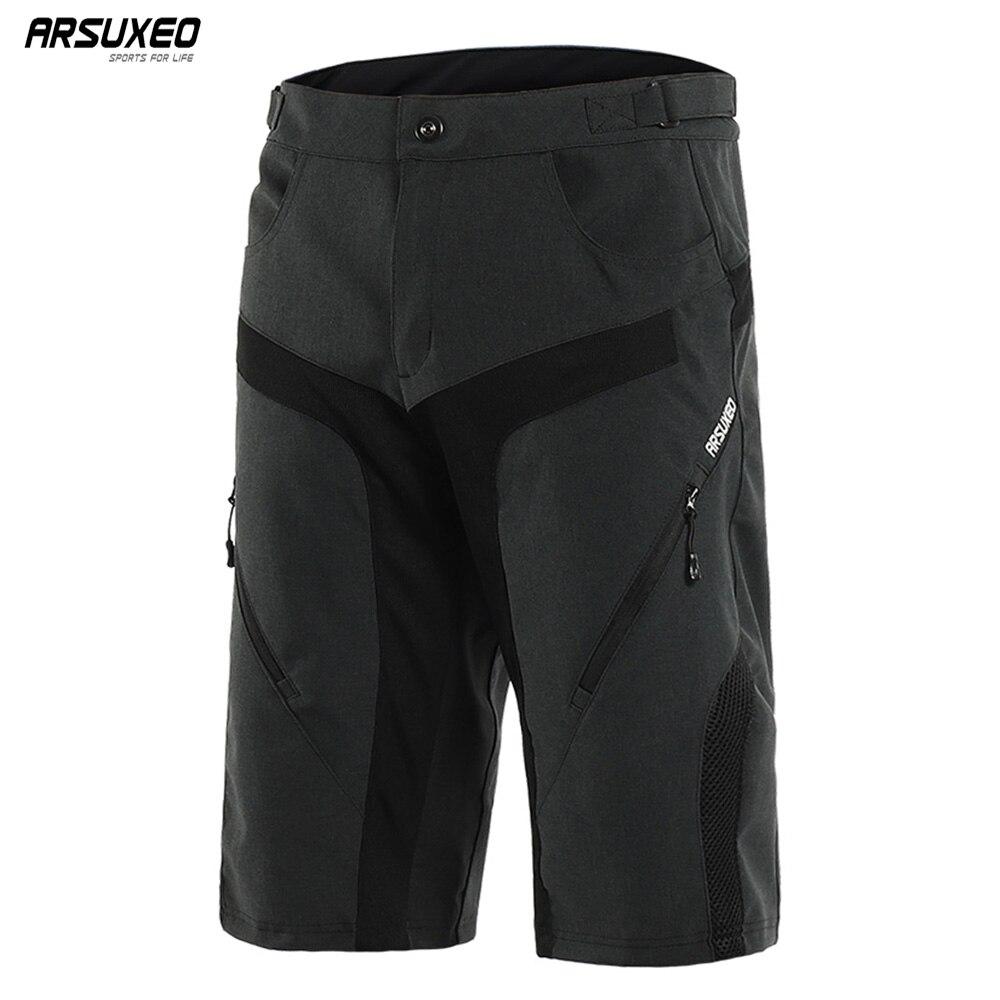 ARSUXEO al aire libre de los hombres de deportes pantalones cortos de ciclismo cuesta abajo MTB pantalones cortos resistente al desgaste cortos de bicicleta de montaña resistente al agua 1802
