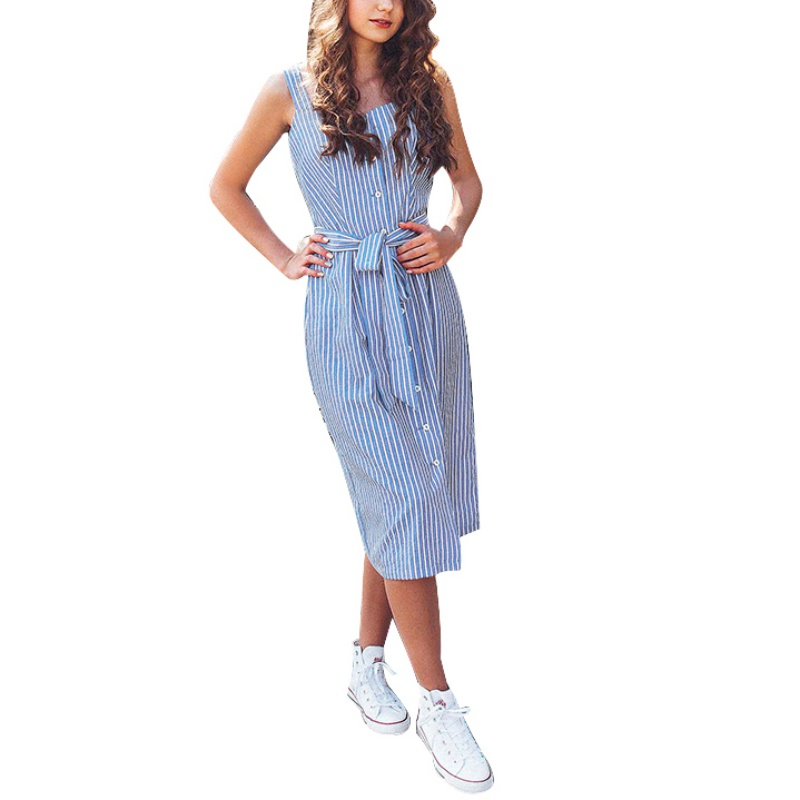 Blue White Stripe Summer Dress Women Sexy Packaging Hip Slim Bodycon Dress Preppy Girls High Waist Sashes Lace Up Midi Dress H7
