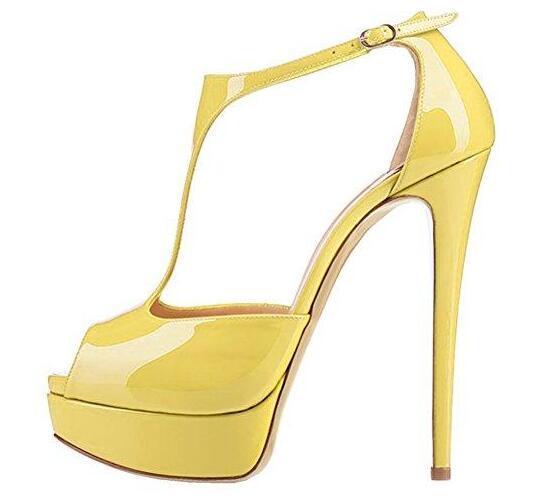 as Cuero De Recortes Moraima Peep Alta Pictures Desnudo Alto As Bombas Amarillo Snc Toe Patente Sexy Vestido Plataforma T correa Pictures Mujer Super Tacón Zapatos Tacones ZqqWS0Yc