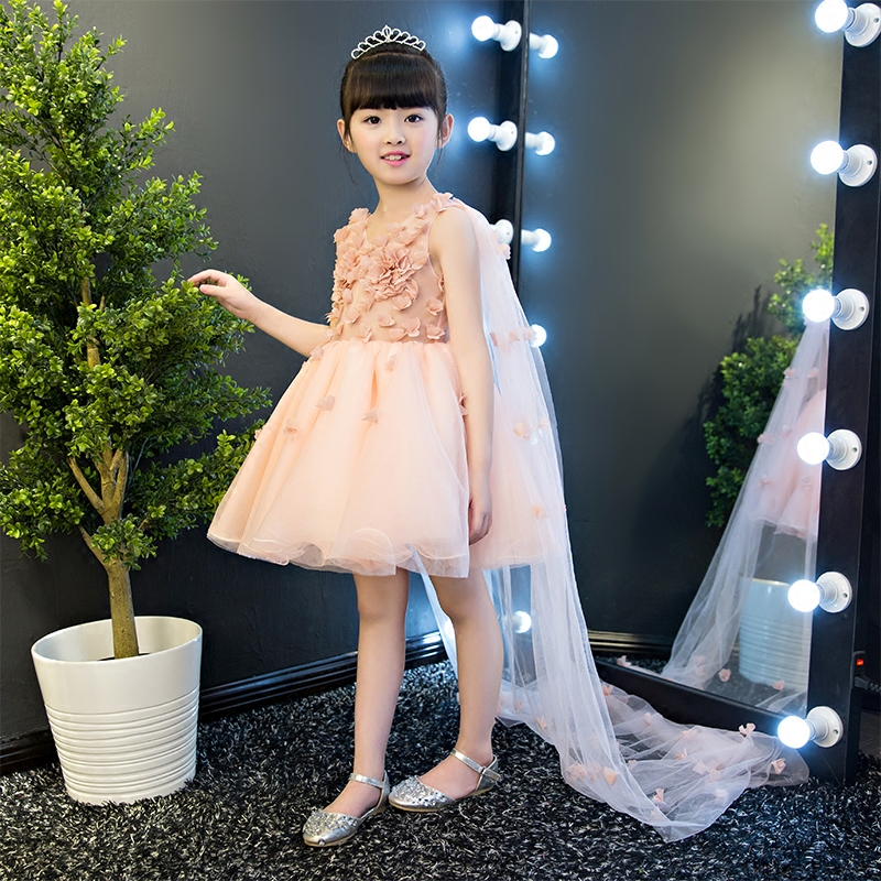 New Arrival Elegant Children Girls V-Collar Design Flowers Princess Dress Kids Wedding Birthday Party Dress With Long Mesh Tail new high quality children girls blue princess lace party dress wedding birthday dress with layers mesh tail kids costume dress