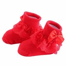 Стиль, бант, кружевные детские носки хлопоковый для новорожденных малышей носки для девочек милые хлопковые носки для детей ясельного возраста платье принцессы вечерние
