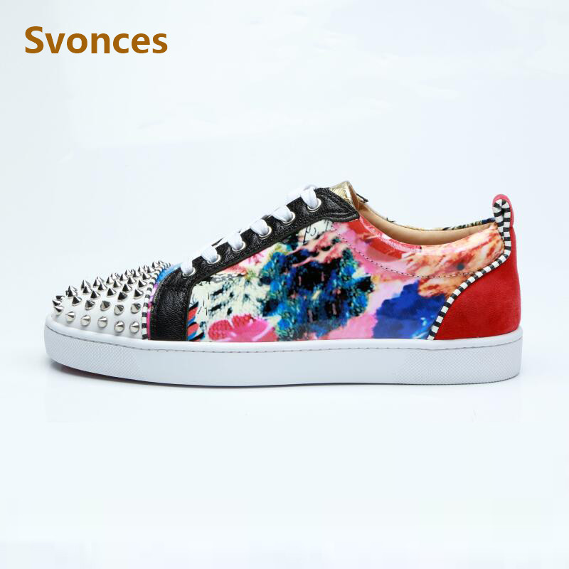18 Fashion Casual Women Sneakers Shoes Luxury Brand Mixed Color Flats  Platform Rivtes Lace Up Round cec64d31fe1a