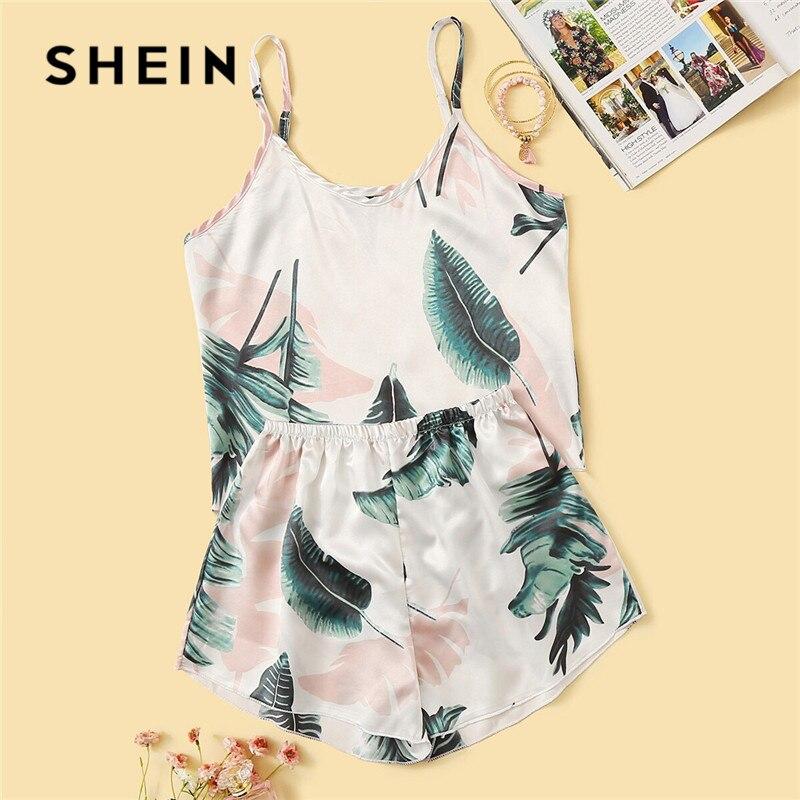 Conjunto de pijama de satén con estampado Tropical SHEIN para mujer verano Casual sin mangas con correa de espagueti ropa de dormir Linda ropa de dormir para niñas frescas