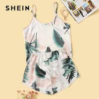 Shein tropical impressão de cetim conjunto pijama feminino verão casual sem mangas espaguete cinta sleepwear bonito fresco meninas nightwear