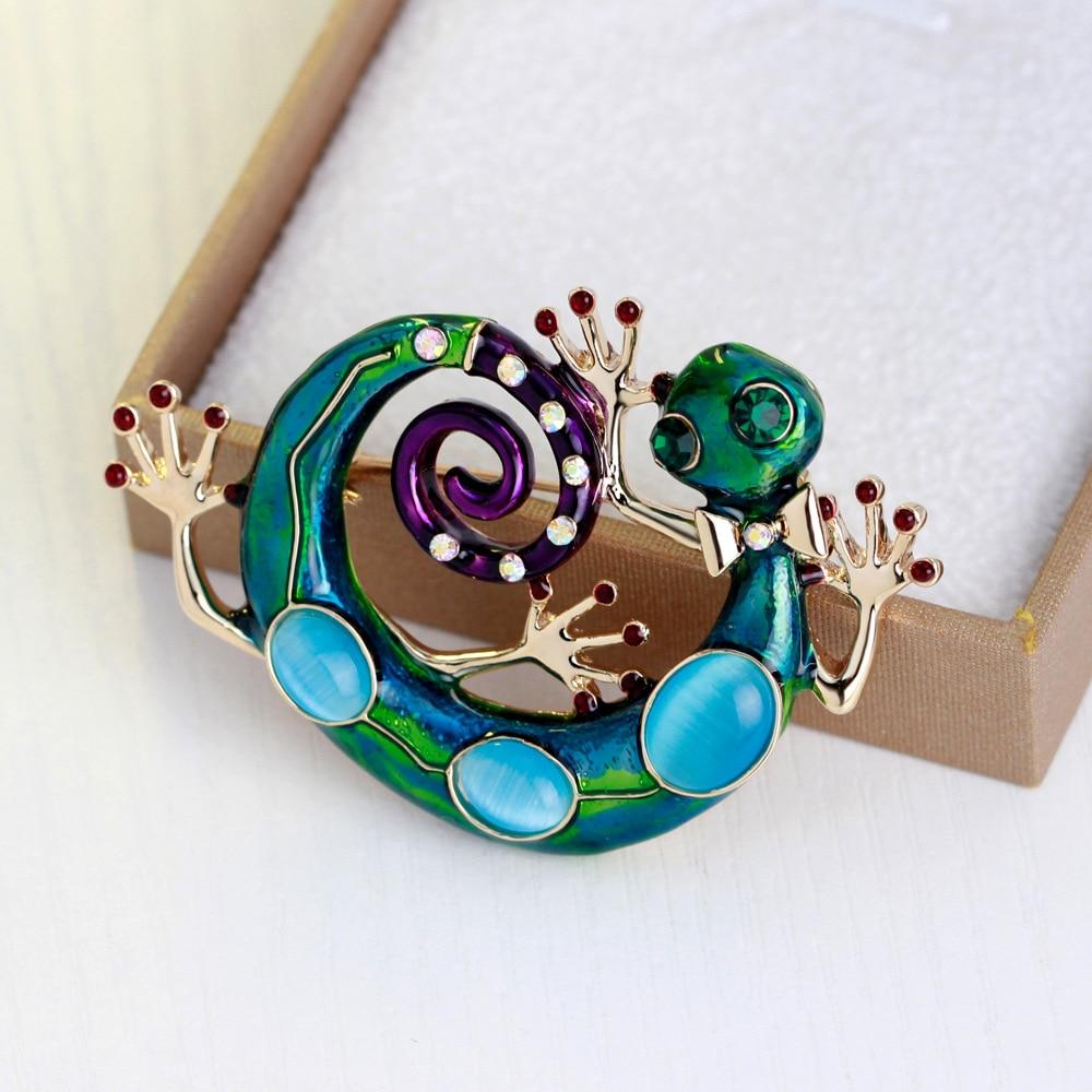 Брошки MloveAcc Blue Enamel Lizard Gecko Snake for Women - Модні прикраси - фото 4