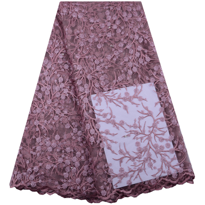 New Design Onion Color Tulle Lace High Quality New Arrivals African Lace Fabric Tulle Pearl African