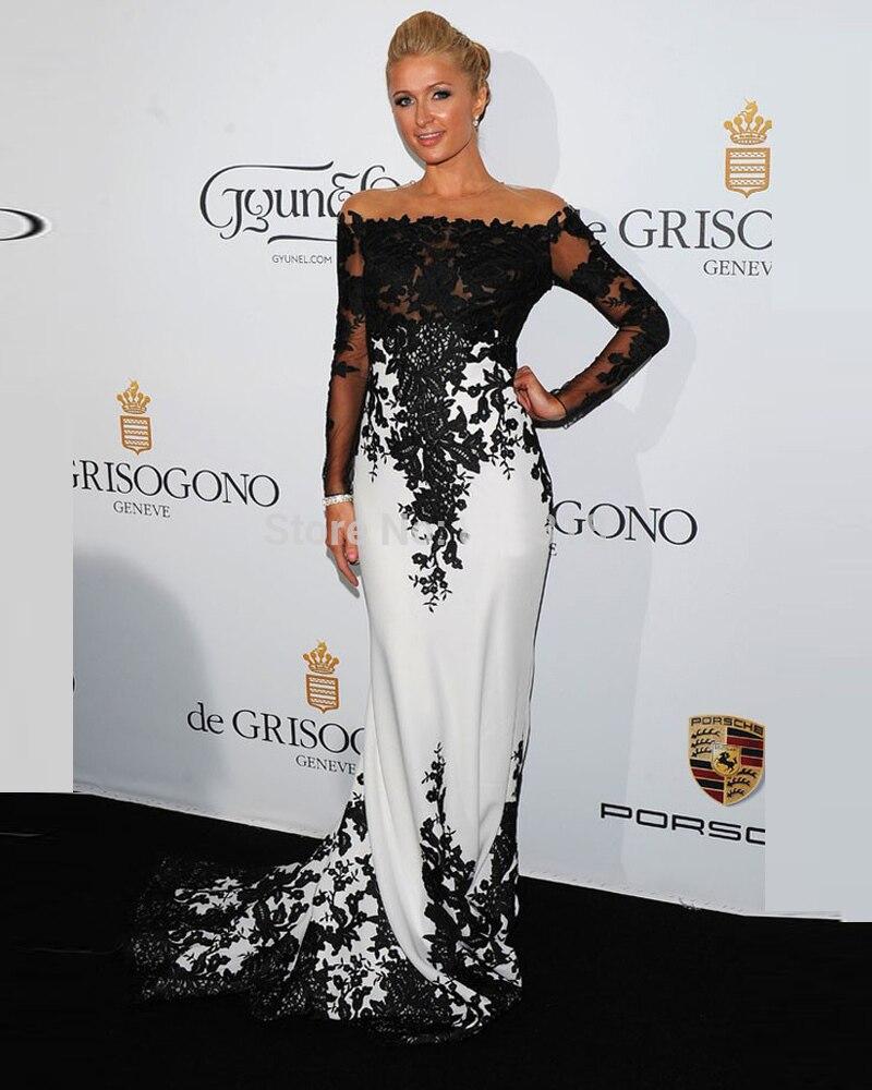 Мода белый и черный мать Невесты Платья 2016 лодка шеи длинным sleevesmermiad женщин формальное ужин платье для выпускного вечера партия