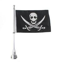Custom Motorcycle Silver Luggage Rack Mount Flag Pole W Skull USA US For Harley