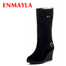 ENMAYER new 2015 sexy Mid-Calf warm snow boots Flock Buckle Winter Boots size 34-39 wedges women shoes Black Yellow Apricot