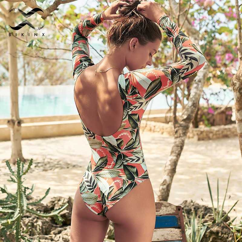 Bikinx Summer 2019 Leaves print swimsuit female Long sleeve sexy bikini new one piece bodysuit Push up swimwear women monokini